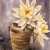 """Lotus flowers in the corner"" (watercolor) by Xin Xu"