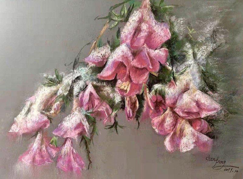 """""""Blooming in the snow"""" (soft pastel on paper) by Ping Chen"""