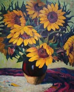 """""""Sunflower"""" (oil pastel) by Li Ba"""