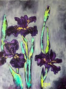 """Irises"" (oil on canvas) by Kira Droganova"