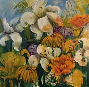 """Summer Season of Abundance"" (oil over egg tempera) by Gay Cox"