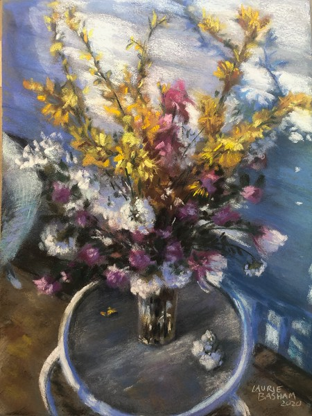 """""""Spring on the Side Porch"""" (pastel) by Laurie Basham"""