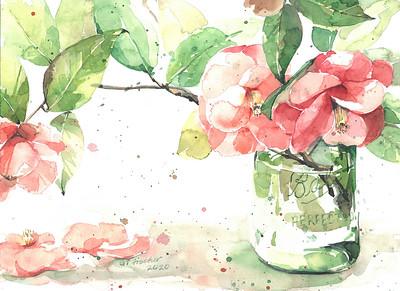"""Camellia in a Jar"" (watercolor) by Gloria Tseng Fischer"