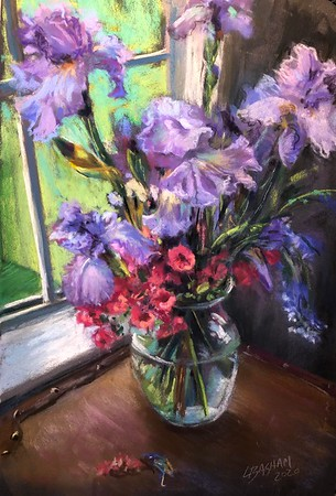 """Purple Iris with Pink Azalia"" (pastel) by Laurie Basham"