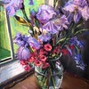 """Purple Iris with Pink Azalia"" (pastel) by Laurie Basham"