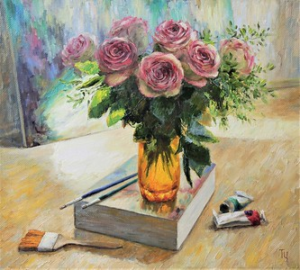 """Roses. Sunny morning in an art studio"" (oil on canvas) by Tatiana Chepkasova"