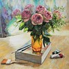 """Roses. Sunny morning in an art studio"" (oil on canvas) by Tatiana Chepkasova"