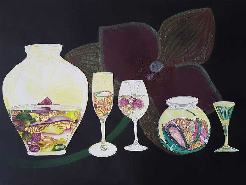 """Orchids Through Glass"" (mixed media) by Olivia Brus"