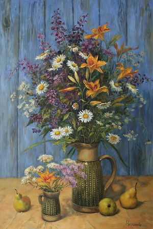 """Rustic bouquet"" (oil on canvas) by Tatiana Chepkasova"