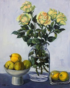 """""""Champagne rose"""" (oil on linen) by Xi Chen"""