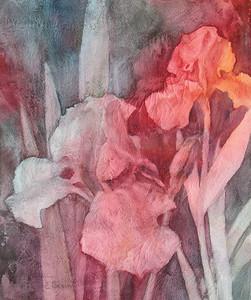 """Iris at Twilight"" (watercolor on gesso) by Elizabeth Burin"