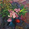 """""""Flowers on the blue vase"""" (oil) by Qiwei Li"""