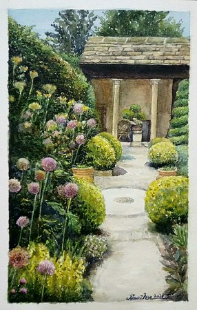 """""""Courtyard"""" (watercolor) by Liping Feng"""
