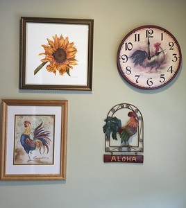 GIclee print of AUTUMN SUNFLOWER  at it's new home with the kitchen roosters.