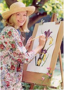 Morgan painting SPRING ISLAND SPURIA IRIS Watercolor in her garden.