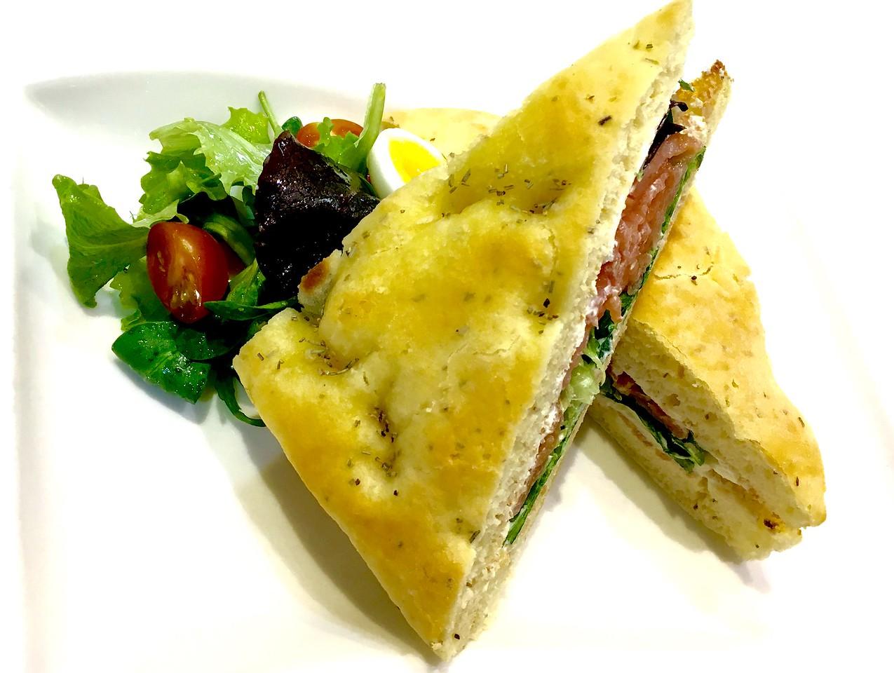 Focaccia sandwich with smoked salmon