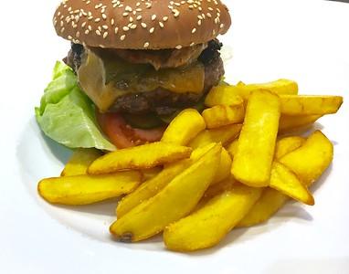 Homemade hamburger from beef chuck roll
