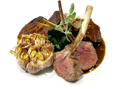 Roasted New Zealand lamb crown with mint sauce