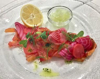 Starter - Marinated salmon 235,- Kč