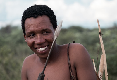 Bushmen of the San tribe at the trailblazers camp in Botswana