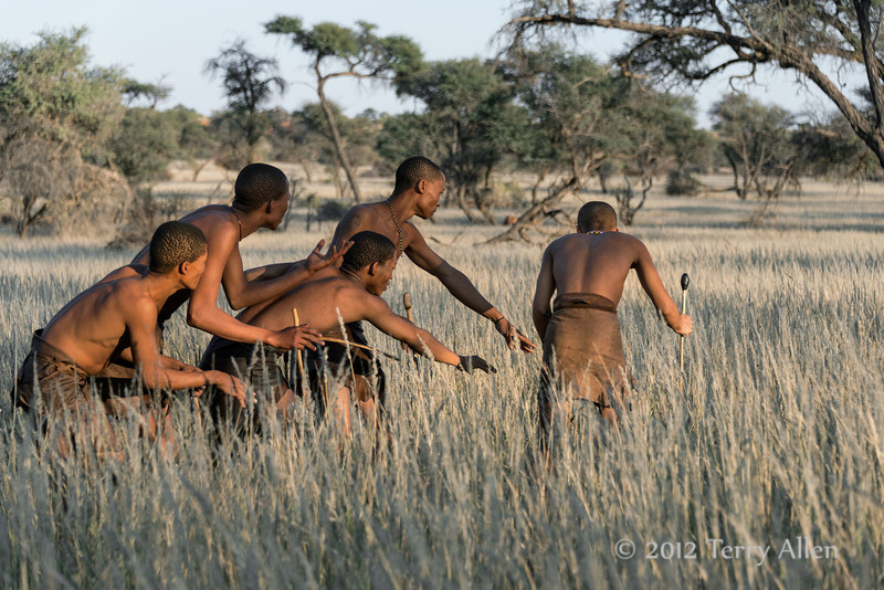 Bushmen-demonstrating-hunting-technique-6,-Intu-Africa