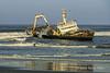 MFV Zeila, stern-trawler-ship-wreck-with-cormorants-1,-Skeleton-Coast, Namibia