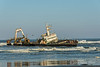MFV Zeila, stern-trawler-ship-wreck-with-cormorants-2,-Skeleton-Coast, Namibia