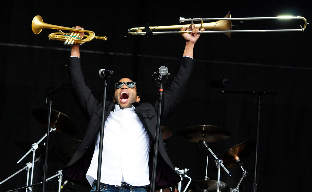 . NAPA, CA - MAY 25, Troy Andrews performs with Trombone Shorty on the JaM Cellars Stage during the first day of BottleRock Napa Valley festival. (CHRIS RILEY/TIMES-HERALD)