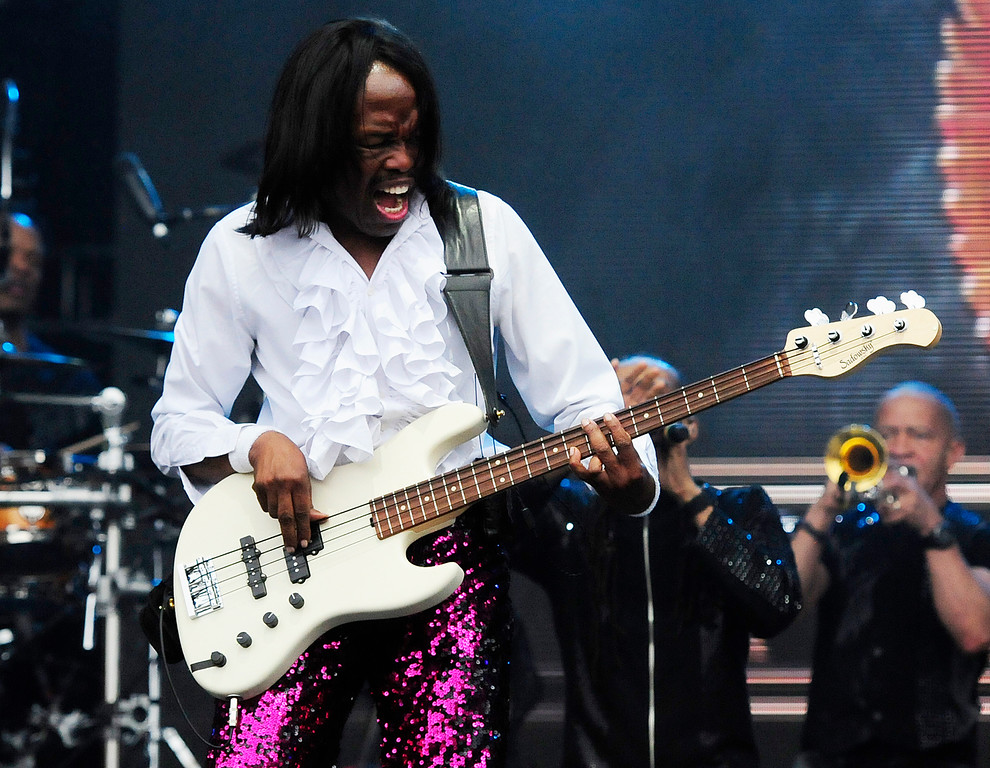 . NAPA, CA - MAY 25, Earth, Wind and Fire bass guitarist Verdine White performs on stage during the first day of BottleRock Napa Valley festival. (CHRIS RILEY/TIMES-HERALD)