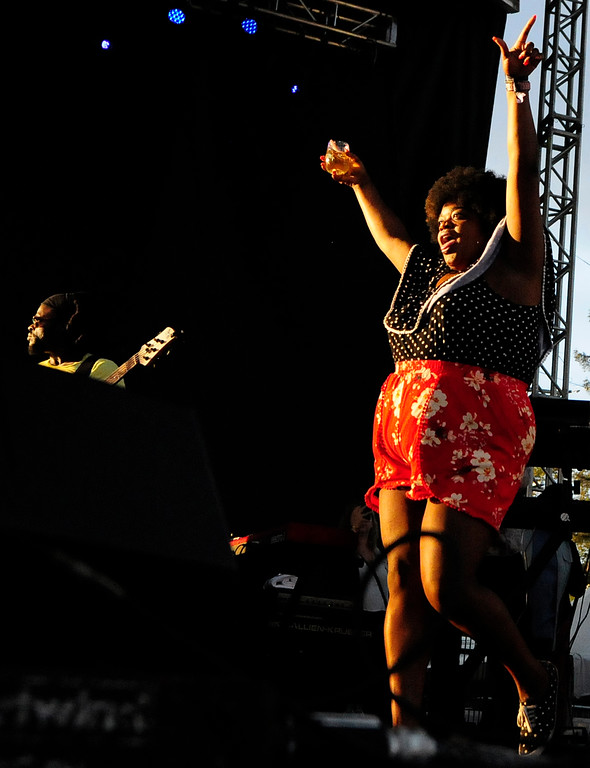 . NAPA, CA - MAY 25, Kayla Buggage performs with Tank and the Bangas on the Lagunitas Stage during the first day of BottleRock Napa Valley festival. (CHRIS RILEY/TIMES-HERALD)