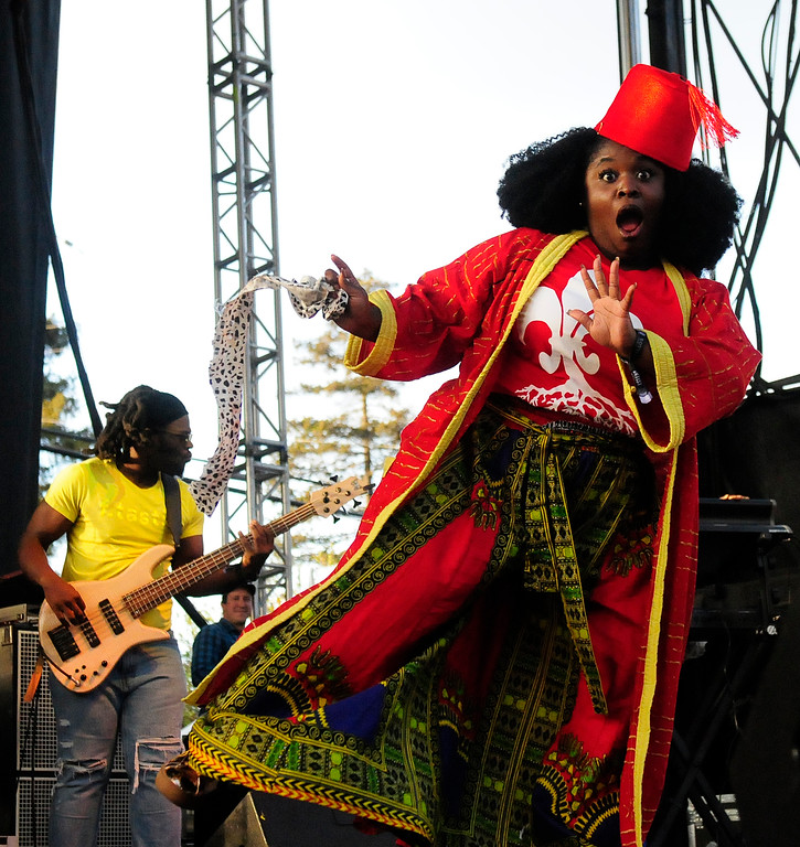 . NAPA, CA - MAY 25, Tarriona Ball performs with Tank and the Bangas on the Lagunitas Stage during the first day of BottleRock Napa Valley festival. (CHRIS RILEY/TIMES-HERALD)
