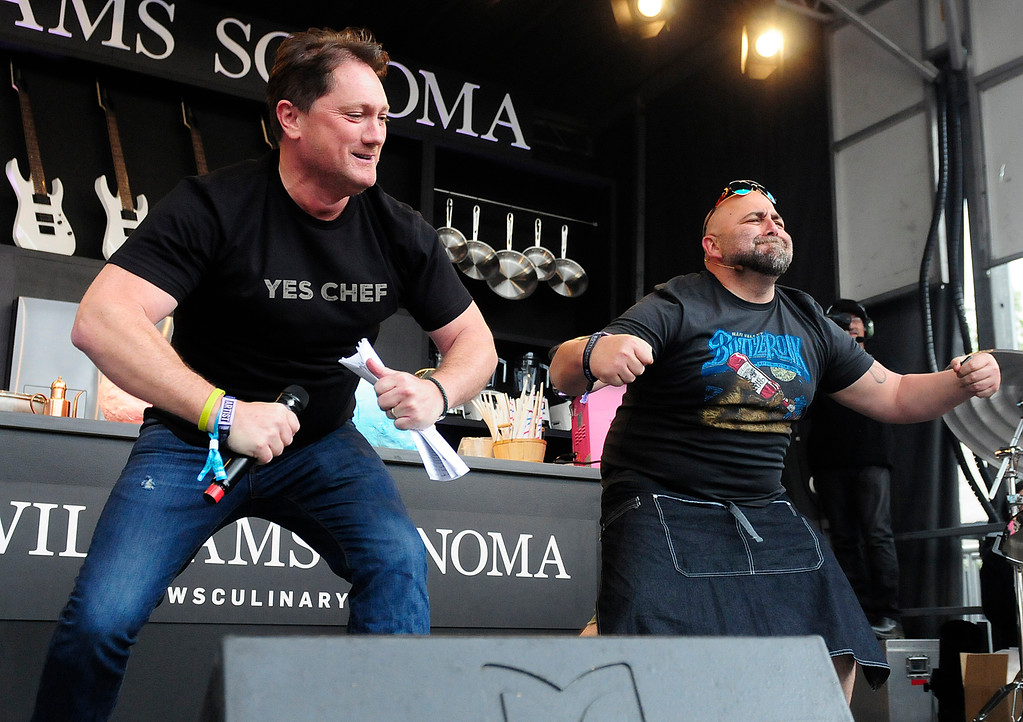 . NAPA, CA - MAY 25, Liam Mayclem and Duff Goldman flex on the Williams Sonoma Culinary Stage during the first day of BottleRock Napa Valley festival. (CHRIS RILEY/TIMES-HERALD)