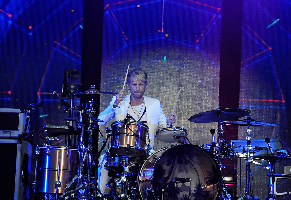 . NAPA, CA - MAY 25, Muse drummer Dominic Howard performs on stage during the first day of BottleRock Napa Valley festival. (CHRIS RILEY/TIMES-HERALD)