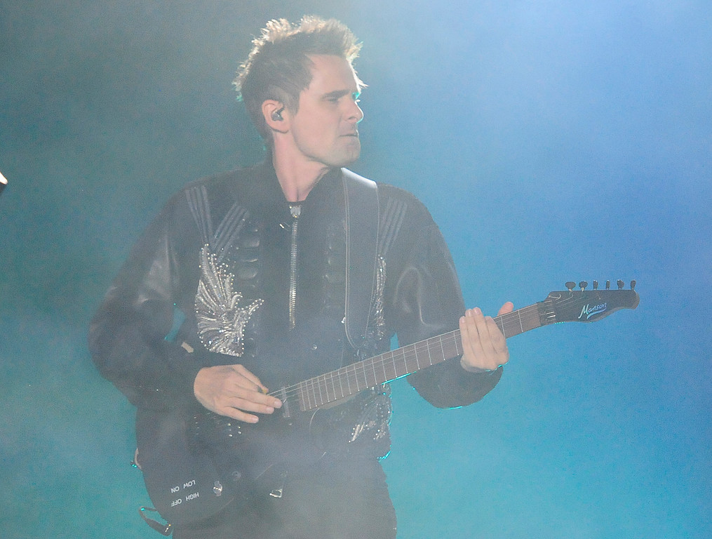 . NAPA, CA - MAY 25, Muse guitarist Matt Bellamy performs on stage during the first day of BottleRock Napa Valley festival. (CHRIS RILEY/TIMES-HERALD)