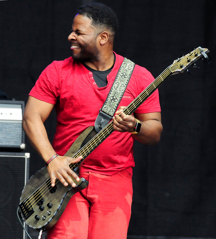 . NAPA, CA - MAY 25, Trombone Shorty bassist Mike Ballard performs on the JaM Cellars Stage during the first day of BottleRock Napa Valley festival. (CHRIS RILEY/TIMES-HERALD)