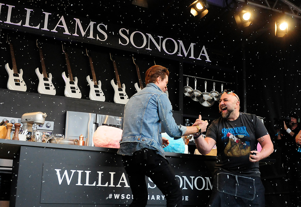 . NAPA, CA - MAY 25, B. Duff Goldman makes it snow coconut for Olympic gold medal snowboarder Shaun White on the Williams Sonoma Culinery Stage during the first day of BottleRock Napa Valley festival. (CHRIS RILEY/TIMES-HERALD)
