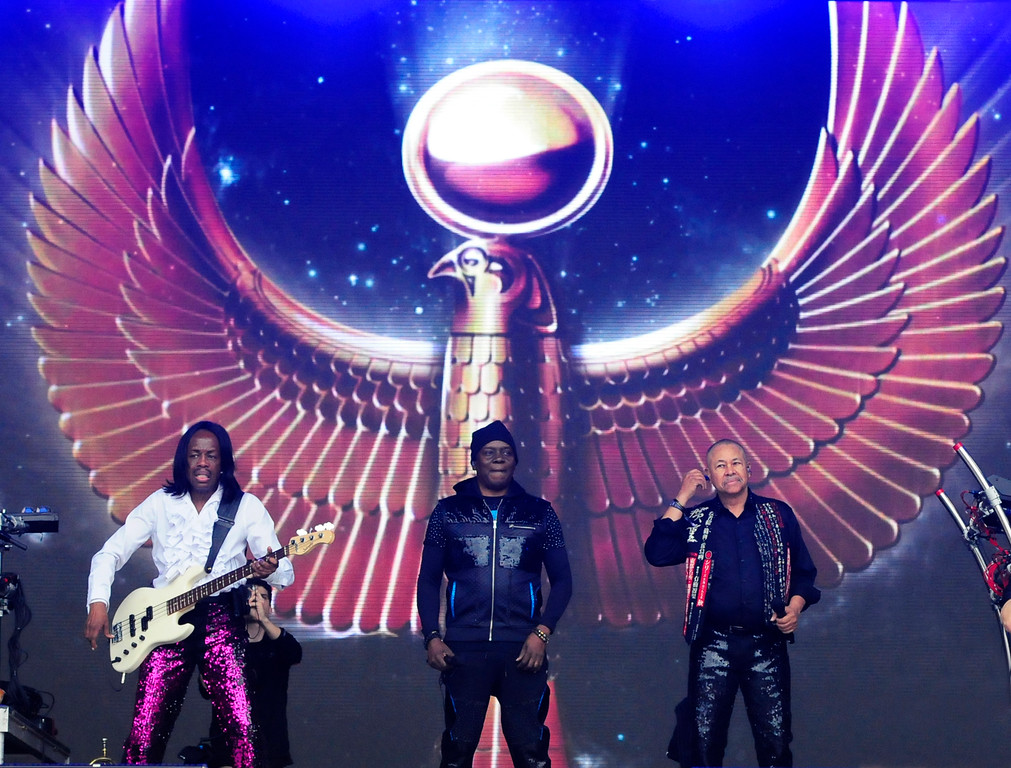 . NAPA, CA - MAY 25, Earth, Wind and Fire�s Verdine White, Philip Bailey and Ralph Johnson perform on stage during the first day of BottleRock Napa Valley festival . (CHRIS RILEY/TIMES-HERALD)