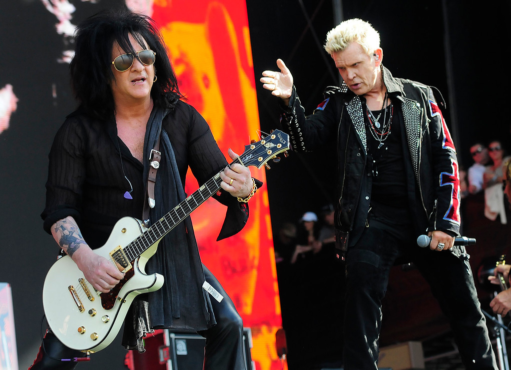 . NAPA, CA - MAY 26, Billy Idol, right, sings with Steve Stevens as they perform on the JaMCellars Stage during the second day of BottleRock Napa Valley Music Festival. (CHRIS RILEY/TIMES-HERALD)