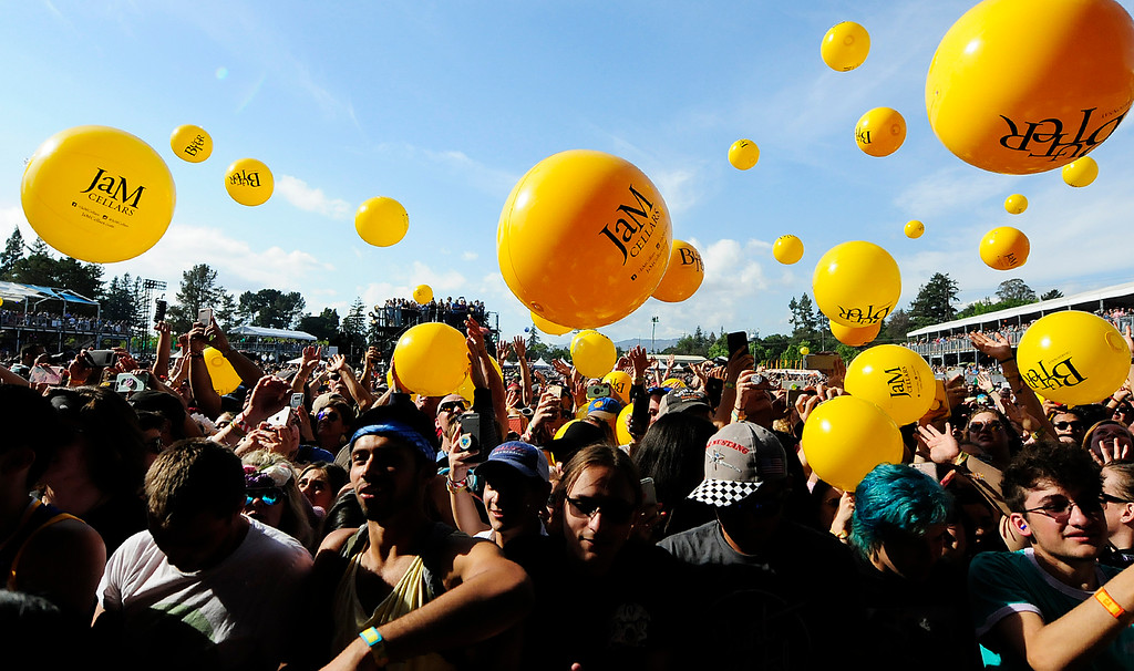 . NAPA, CA - MAY 26, Bright yellow beach balls bounce around the crowd at the JaMCellars Stage during the second day of BottleRock Napa Valley Music Festival. (CHRIS RILEY/TIMES-HERALD)