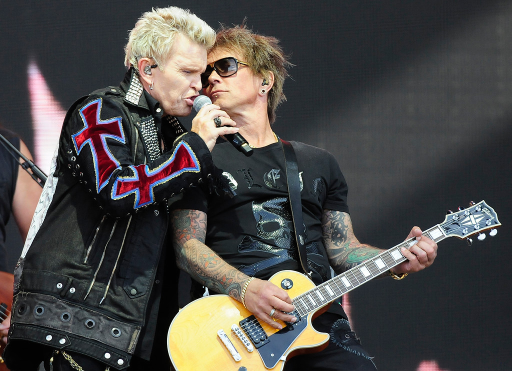 . NAPA, CA - MAY 26, Billy Idol, left sings with Billy Morrison as they perform on the JaMCellars Stage during the second day of BottleRock Napa Valley Music Festival. (CHRIS RILEY/TIMES-HERALD)