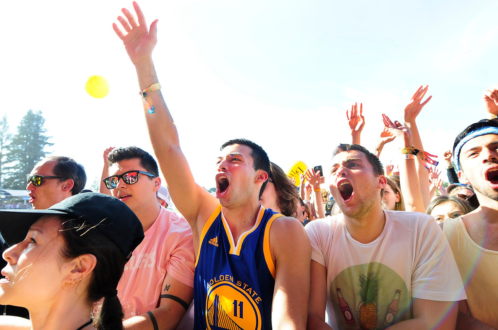 . NAPA, May 26, Ethan Kadixale of San Ramon wears his Warriors gear as he watches Billy Idol at the BottleRock Napa Valley Music Festival on Saturday. (Chris Riley/Times-Herald)