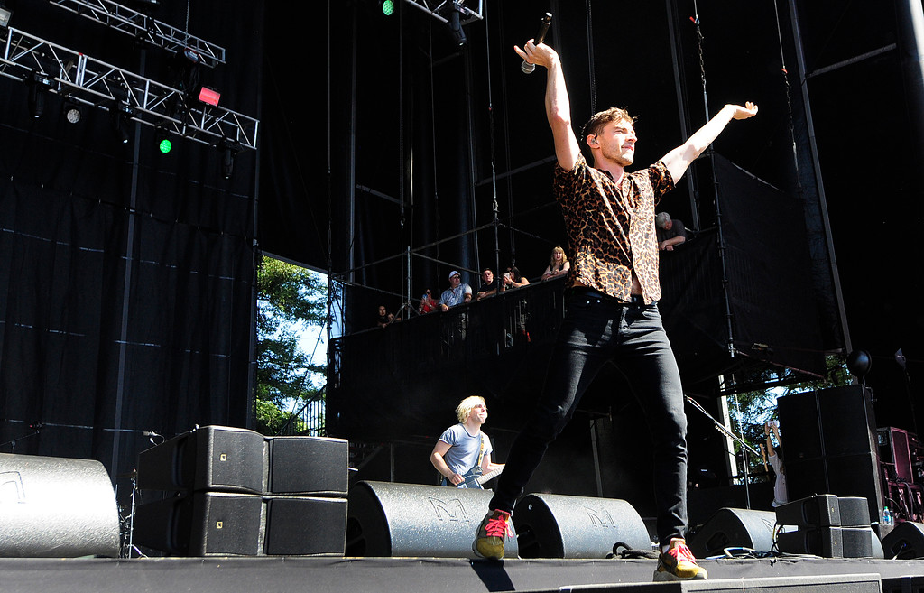 . NAPA, CA-MAY 27, David Boyd performs with New Politics at the Midway Stage on the last day of the BottleRock Napa Valley Music Festival on Sunday.