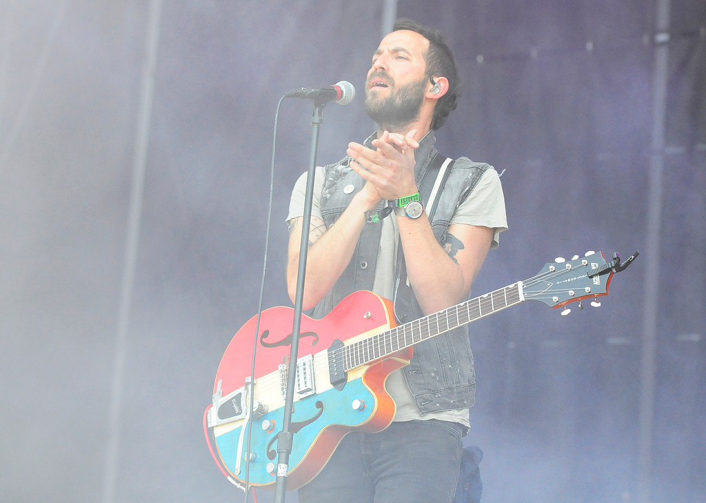. NAPA, CA-MAY 27, Josh Ostrander performs with Mondo Cozmo on the Midway Stage on the last day of the BottleRock Napa Valley Music Festival on Sunday.
