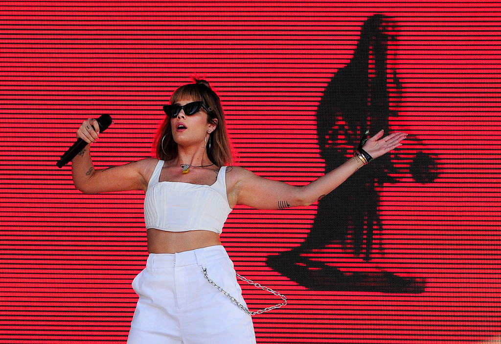 . NAPA, CA-MAY 27, Halsey performs on the JaM Cellars Stage on the last day of the BottleRock Napa Valley Music Festival on Sunday.