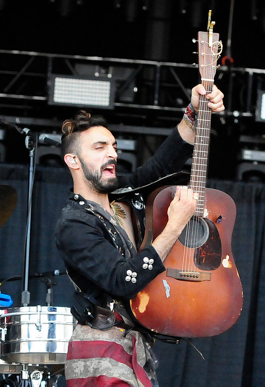 . NAPA, CA-MAY 27, Zang performs with Magic Giant on the JaM Cellars Stage on the last day of the BottleRock Napa Valley Music Festival on Sunday.