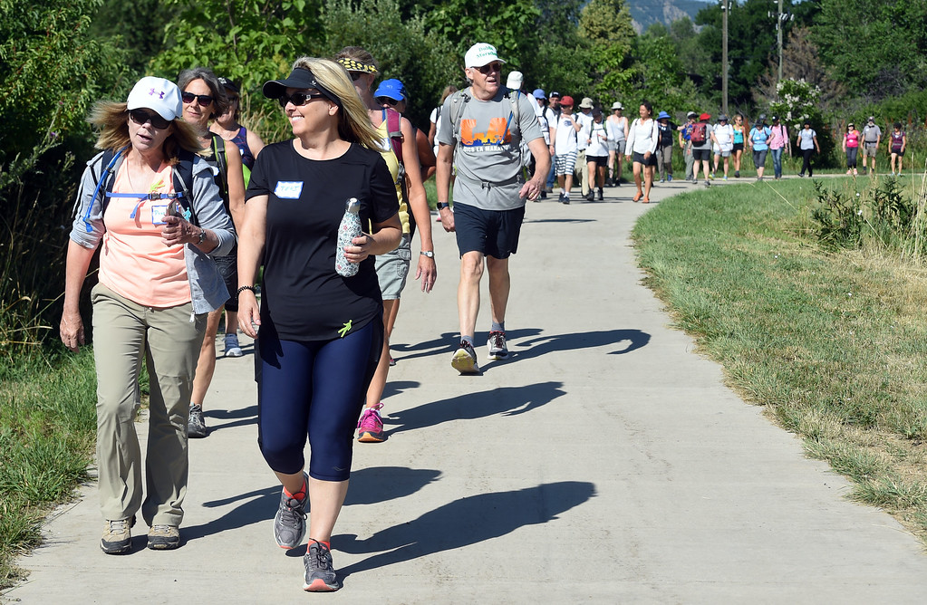 """. Penny Netherly, left, and Teri Ouar, were among  the dozens of people participating in the \""""Slow Marathon\"""" on Saturday. The Boulder Walk 360 \'Slow marathon,\' is a 26-mile walk around Boulder on Saturday.  For more photos and a video, go to dailycamera.com Cliff Grassmick  Staff Photographer  June 30, 2018"""