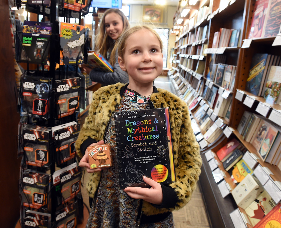 . Fiona McBride, 6, found the book she was looking for. The Boulder Book Store  was named the best book store in the country by Publisher\'s Weekly. For more photos, go to dailycamera.com. Cliff Grassmick  Photographer  March 29, 2018