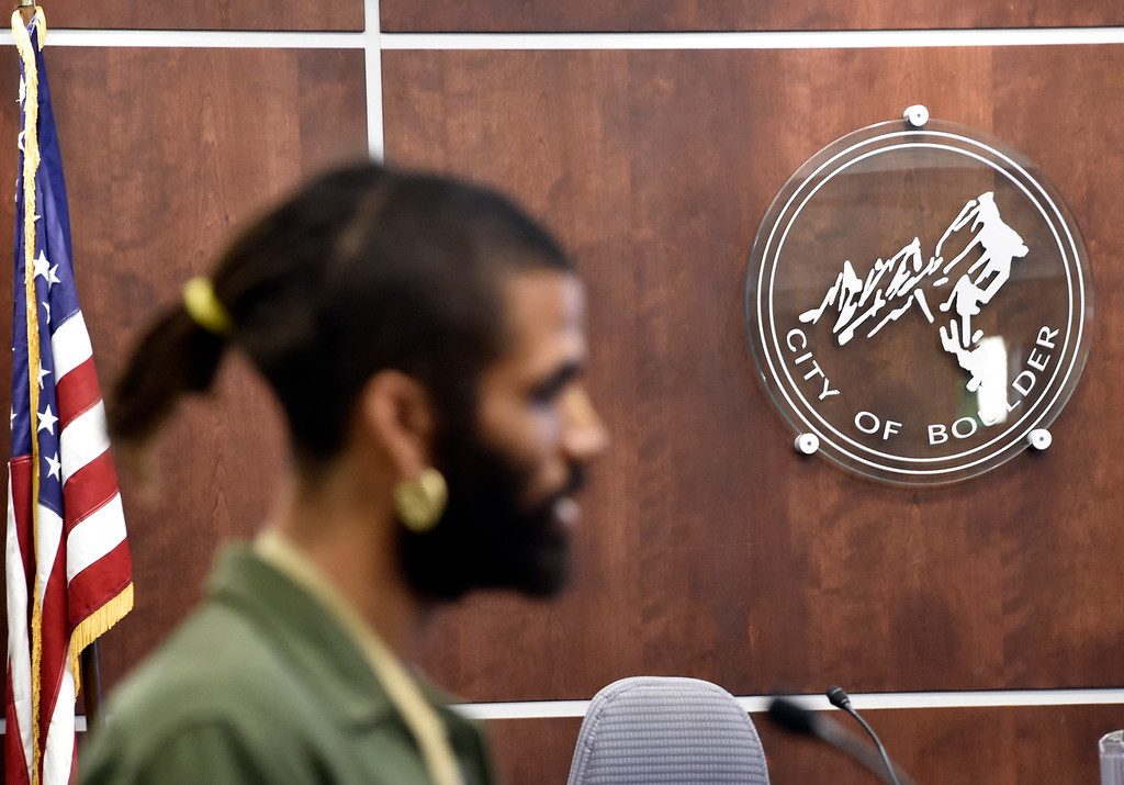 . BOULDER, CO - MARCH 18, 2019: Zayd Atkinson speaks about how he was treated by the Boulder Police officers while picking up trash in his own yard during a special Boulder City Council meeting on Monday night regarding the recent incident of racial profiling. For more photos of the meeting go to dailycamera.com (Photo by Jeremy Papasso/Staff Photographer)
