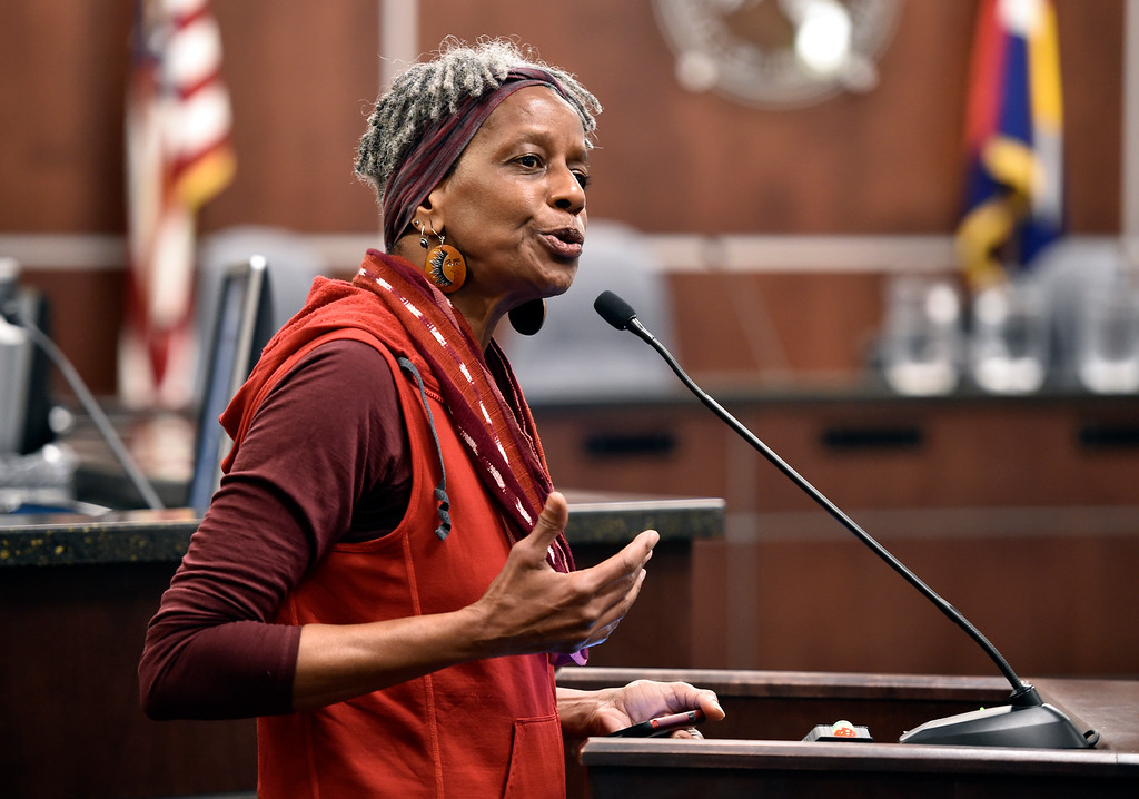 . BOULDER, CO - MARCH 18, 2019: Norma Johnson speaks to the crowd during a special Boulder City Council meeting on Monday night regarding the recent incident of racial profiling. For more photos of the meeting go to dailycamera.com (Photo by Jeremy Papasso/Staff Photographer)