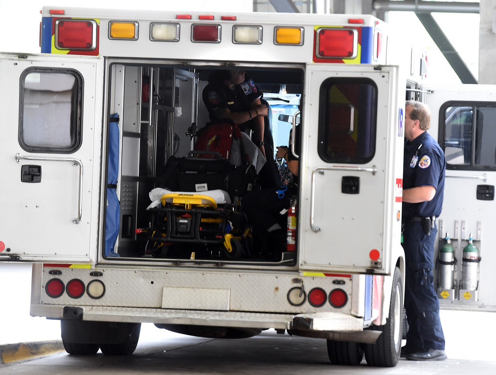 . Paramedics from AMR leave the  Boulder Foothills Hospital emergency room on Friday.  Doctors in ER\'s around Boulder County are working to reduce their use of opioids as the epidemic rages on across the country. Cliff Grassmick  Staff Photographer  June 22, 2018